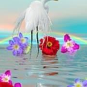 Fantasy Stork-flowers-rainbow On Ocean Art Print