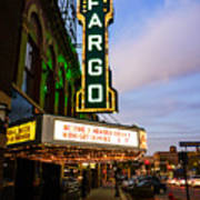 Fargo Theater And Downtown Along Broadway Drive Print by Paul Velgos