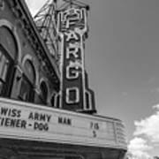 Fargo Theater Sign Black And White  Art Print