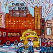 Farine Five Roses Montreal 375 Hometown Hockey Hotel Bonaventure Tour Bus Canadian Art C Spandau Art Art Print