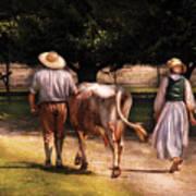 Farm - Cow - Time For Milking  Art Print