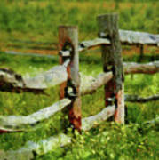 Farm - Fence - The Old Fence Post  Art Print