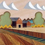 Farm By Ripon -marquetry-image Art Print