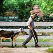 Farm - Cow -the Farmer And The Dell  Art Print