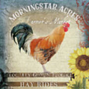 Farm Fresh Barnyard Rooster Morning Sunflower Rustic Art Print