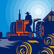 Farmer Driving Vintage Tractor Art Print