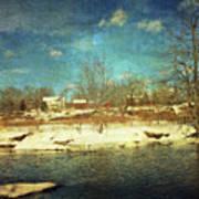 Farmhouse Across The River Art Print