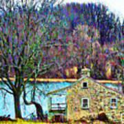 Farmhouse By The Lake Art Print