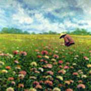 Farmstand Flower Lady Art Print
