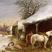 Farmyard In Winter  Art Print