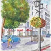 Farola With Flowers In Wilshire Blvd., Beverly Hills, California Art Print