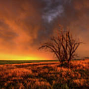 Fascinations - Warm Light And Rumbles Of Thunder In The Oklahoma Panhandle Art Print