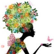 Fashion Girl With Hair Arabesque Art Print