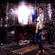 Fashion Model In Jeans  Art Print