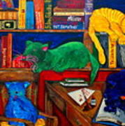 Fat Cats In The Library Art Print