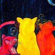 Fat Cats Star Gazing Art Print