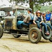 Father And Daughter In The Tractor Parade Art Print