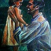 Father And Daughter Art Print by Paulo Zerbato