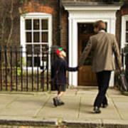 Father And Son Walking Towards Georgian Entrance Art Print