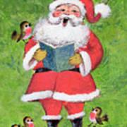 Father Christmas And Robin Chorus Art Print