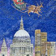 Father Christmas Flying Over London Art Print