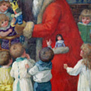 Father Christmas With Children Art Print