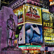 Father Duffy Watching Over Times Square Print by Lee Dos Santos