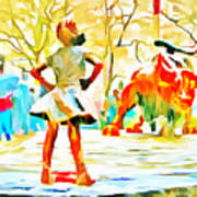 Fearless Girl And Wall Street Bull Statues 6 Watercolor Art Print
