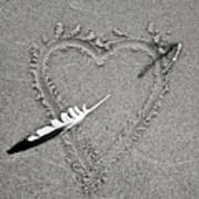 Feather Arrow Through Heart In The Sand Art Print