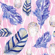 Feathers And Eggs Pattern Art Print