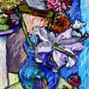February Still Life Flowers Wine And Orange Art Print