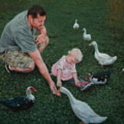 Feeding Ducks With Daddy Art Print
