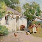Feeding The Hens Print by Arthur Claude Strachan