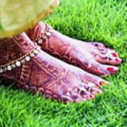 Feet With Mehndi On Grass Print by Athul Krishnan (www.athul.in)