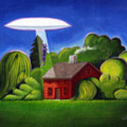 Feline Ufo Abduction Art Print