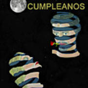 Feliz Cumpleanos  Happy Birthday Moonlight And Roses Art Print