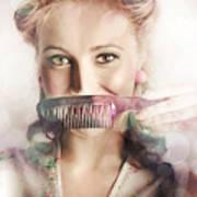 Female Beauty Salon Hairdresser Creating Hairstyle Art Print