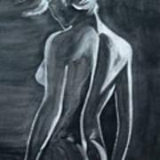 Female Nude Black And Grey Art Print