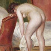 Female Nude Drying Herself Art Print