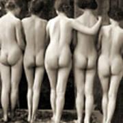 Female Nude Quintet Art Print