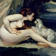 Female Nude With A Dog Art Print
