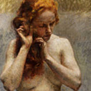 Female Nude with Red Hair Art Print