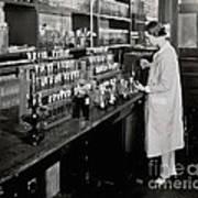 Female Scientist Conducting Experiment Art Print