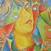 Femme Aux Trois Visages Art Print