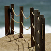 Fence Along The Beach Art Print