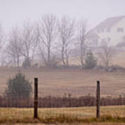 Fence Field And Fog Art Print