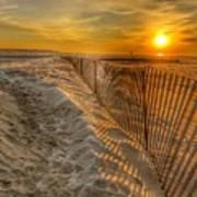 Fence On The Beach Art Print