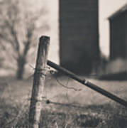 Fence Post In Black And White Art Print
