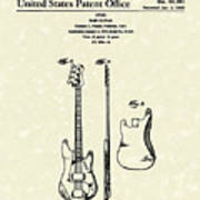 Fender Bass Guitar 1960 Patent Art Art Print