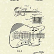 Fender Guitar 1966 Patent Art Art Print by Prior Art Design